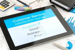 Customer satisfaction survey on a digital tablet