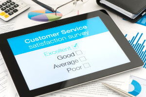 Customer satisfaction survey on a digital tablet